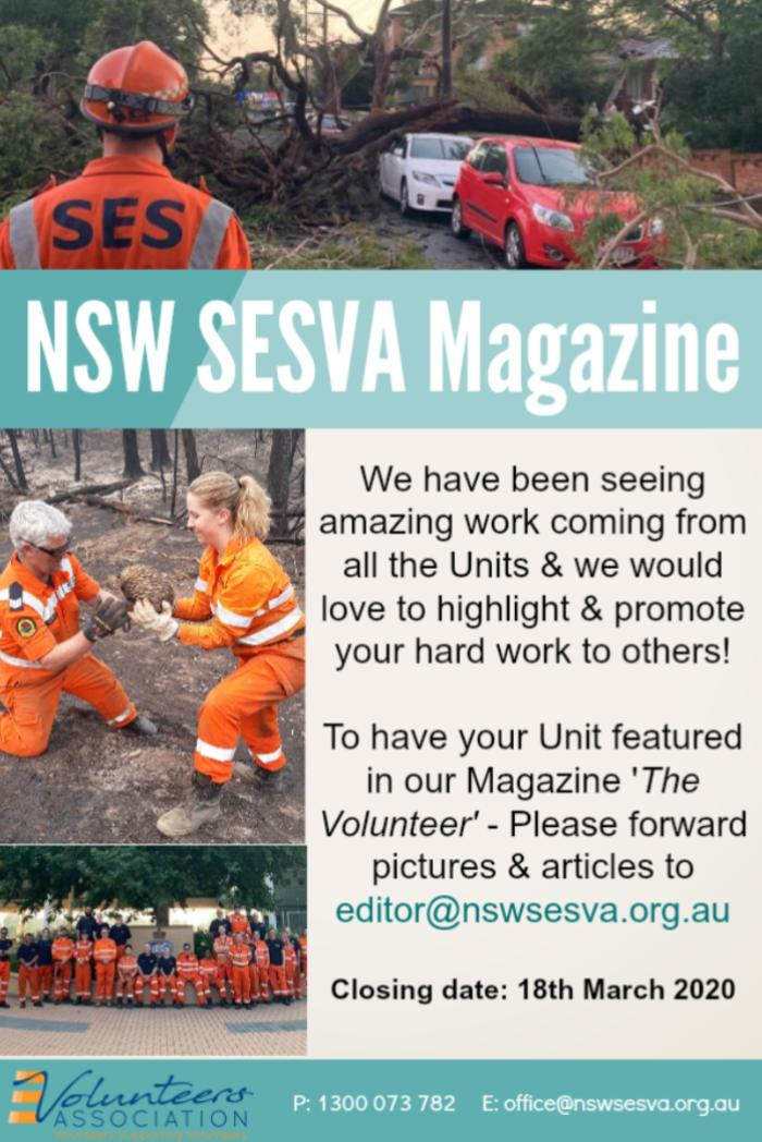 Submissions for the NSW SESVA Magazine due in by 18th March 2020